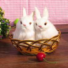 A pair of simulation rabbit  polyethylene&furs rabbit model funny gift about 8cmx8cmx13cm