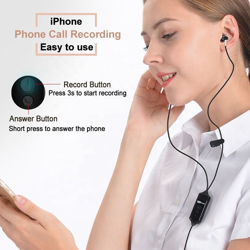 New Cellular Phone Call Recorder Earphone Headset for iPhone Skype WeChat Facebook WhatsApp Voice Call Recording with Free APP