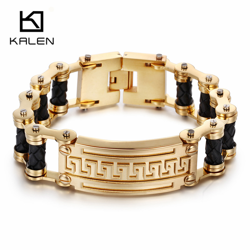 Kalen Retro Dubai Gold Color Bike Chain Bracelet Bangle Stainless Steel Leather Link Chain Motorcycle Chain