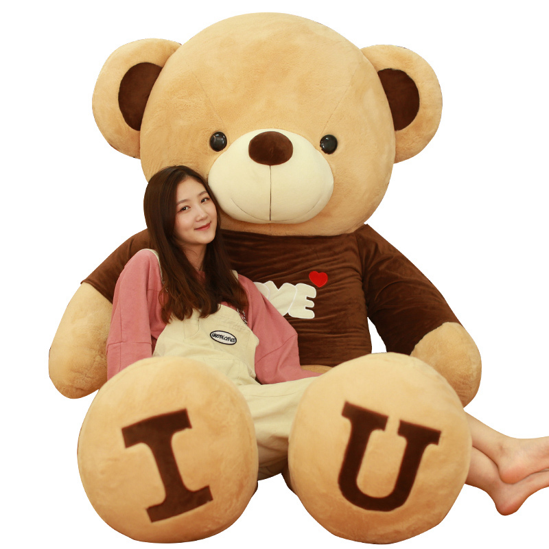80/100cm Big I LOVE YOU Teddy Bear Plush Toy Lovely Huge Stuffed Soft Bear Doll Lover Bear Kids Toy Birthday Gift For Girlfriend