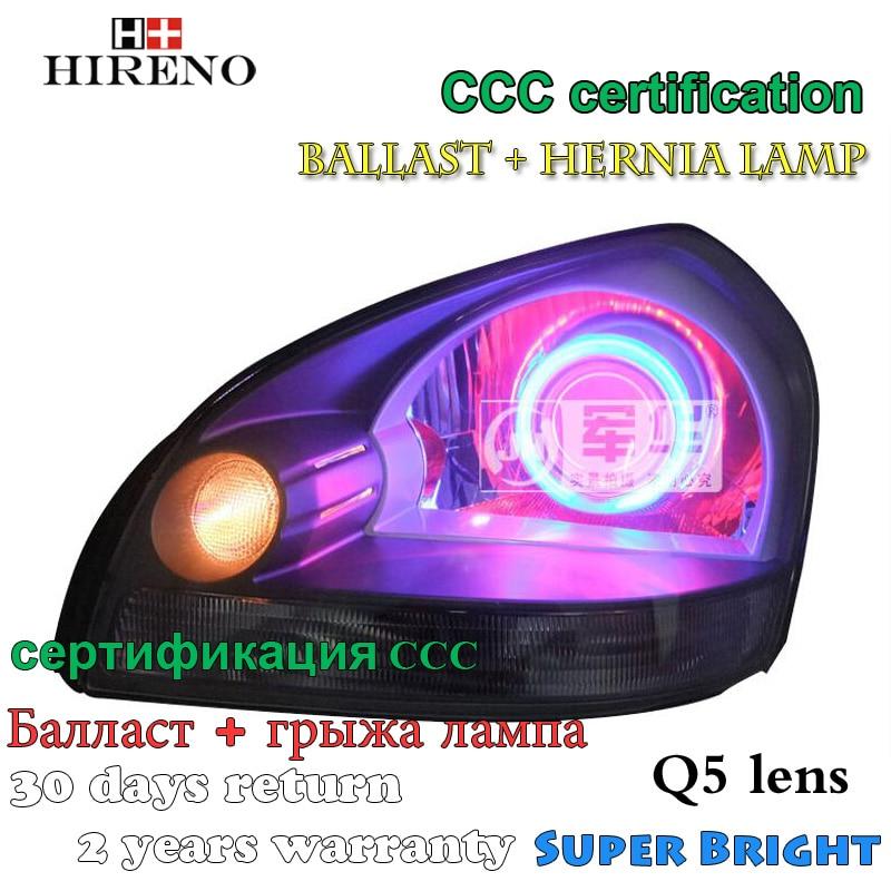 Hireno Modified Headlamp for Hyundai Tucson 2006-2012 Headlight Assembly Car styling Angel Lens Beam HID Xenon 2 pcs 4pcs set smoke sun rain visor vent window deflector shield guard shade for hyundai tucson 2016