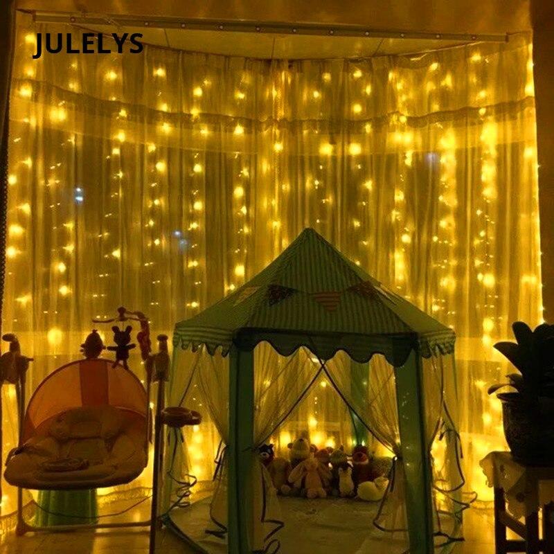 Julelys 3 м x 5 м 480 лампочек гирлянды светодиодный Шторы открытый новогодние гирлянды светодиодный огни украшения для венчания для отдыха и вече...