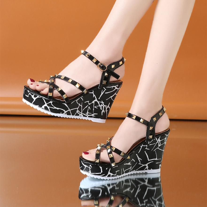 Summer Lady Fashion Wedge High Heels Sandals Elegant Rivets Women Heels Fashion Platform High Heels Wedge Sandals Female Shoes 8