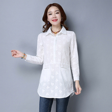 New Spring Casual Women Shirts Full Sleeve Slim Long Cold 2017 Embroidered Wood Blouse Shirt White 6113