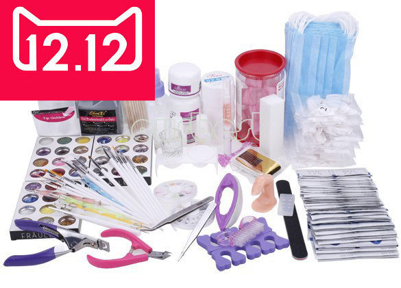 EM-113 free shipping Acrylic Powder Nail Art Kit UV Gel Manicure DIY Tips Polish Brush Set