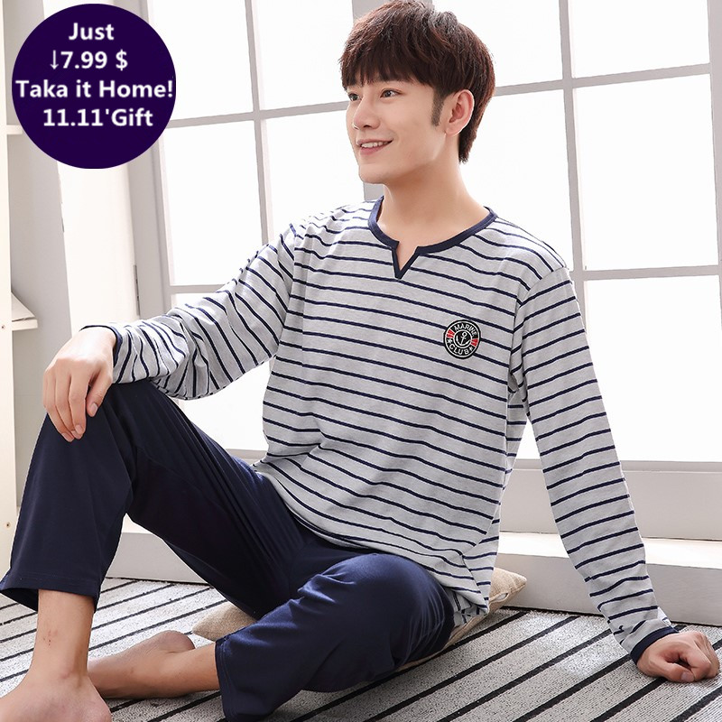 Brand Autumn Knitted Cotton Men's Pajamas Letter Striped Cartoon Pajama Sets Casual Masculine Pyjamas Plus Size L-4XL Pijama