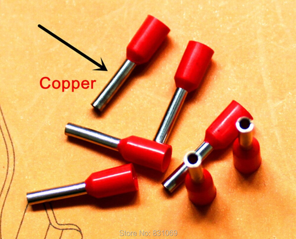 1000pcs/Lot  E2518  14 AWG 2.5mm2 Insulated Cord End Terminal Wire Ferrules Brand New 1250pcs lot e2512 e4012 e6012 e10 12 e16 12 bootlace cooper ferrules kit set insulated cord pin end terminal 5 color