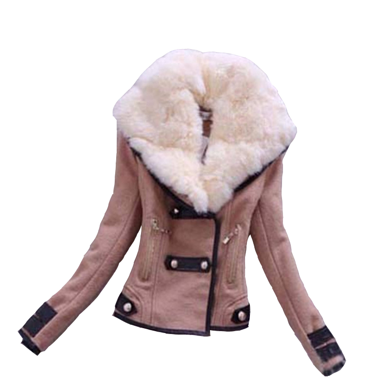 2017 Hot sale Fashion New Brand S XXL Zipper Slim Solid Coat Jacket Women Wollen Casual