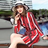 Fashion Women Dress Slim Thin Real Silk Dresses Long Sleeved Department Of Belt Striped Shirt Dress