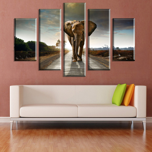 5 Panels Canvas Painting Animal Elephant Living Room Bedroom Modern Home  Wall Art Decoration Print Painting