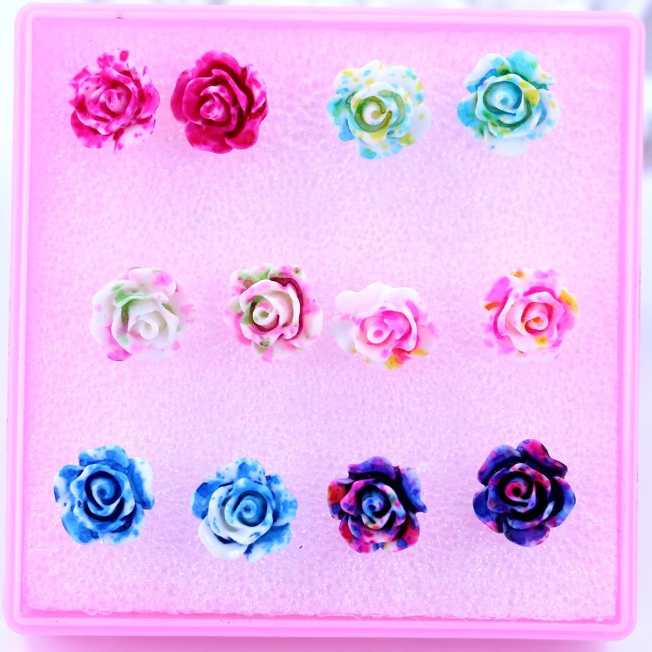 Getrouw Fabriek Groothandel En Detailhandel Goedkope 10mm Resin Kleurrijke Plastic Rose Bloem Anti-allergie Dames Stud Oorbellen 6 Paren/partij