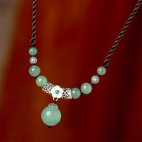 TJP green short necklace female jewelry 925 silver Dongling jade pendant retro simple wild clavicle accessories