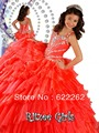 Fast delivery ball gown spaghetti straps floor length red organza draped ruffles rhinestone lace up flower girl dresses pageant