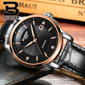 Деловые мужские элегантные часы  автоматические наручные часы с ремешком из натуральной кожи  водонепроницаемые часы с автозапуском и крис...