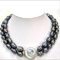 Selling > CLSSIC DOUBLE STRANDS TAHITIAN 10 13mm BLACK MOTHER PEARL NECKLACE 17 18inch>