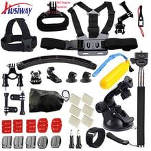 Husiway para Gopro accesorios case Set Pecho Cinturón Head Mount Correa para Go pro hero 5 4 3 2 Negro Edición set kit 06C