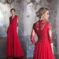 2016 Rojo Una Línea de Largo vestidos de Noche Más El Tamaño del Cuarto de Tres V-cuello de Baile Vestido Elegante de Encaje de manga Vestido de Fiesta Vestido de noche
