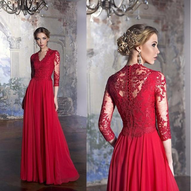 2017 Red A-Line Long   Evening     dresses   Plus Size Three Quarter Sleeve V-Neck Prom Gown Elegant Lace Party   Dress   Vestido de noche