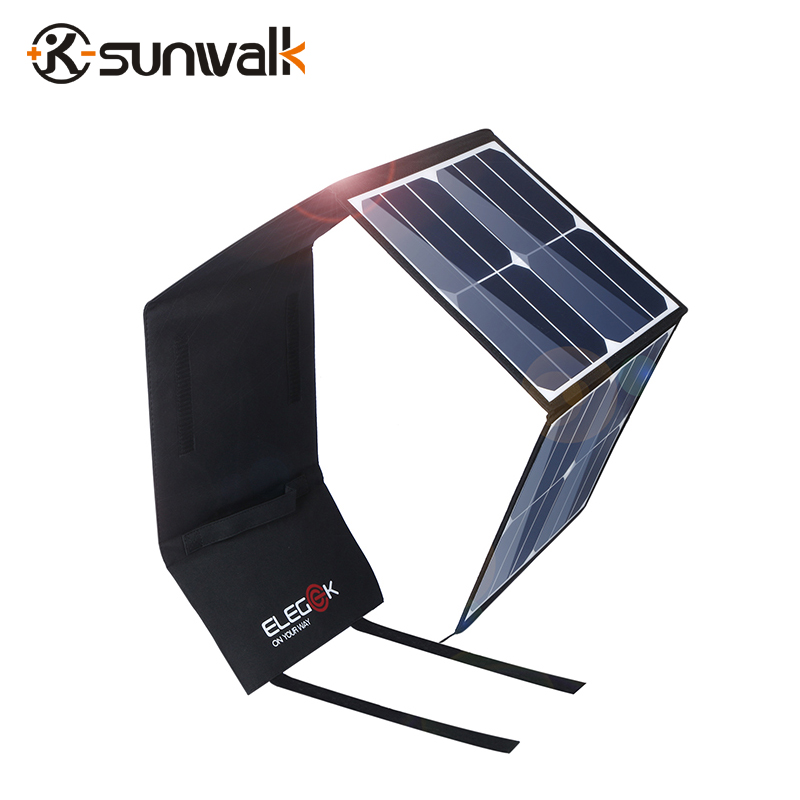 SUNWALK ELEGEEK 50W Portable Solar Panel Charger 5V 12V Dual Output Folding Solar Battery Charger for