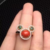 Ragazze regalo regalo di compleanno mamma reale argento sterling 925 natural corallo rosso anello uovo surfce 6*8mm fine gioielli