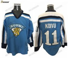 SAKU KOIVU 1998 Finland Equipe DUEWEER Mens Vintage Hockey Jerseys Cheap  Azul 11 SAKU KOIVU Costurado d66e32703