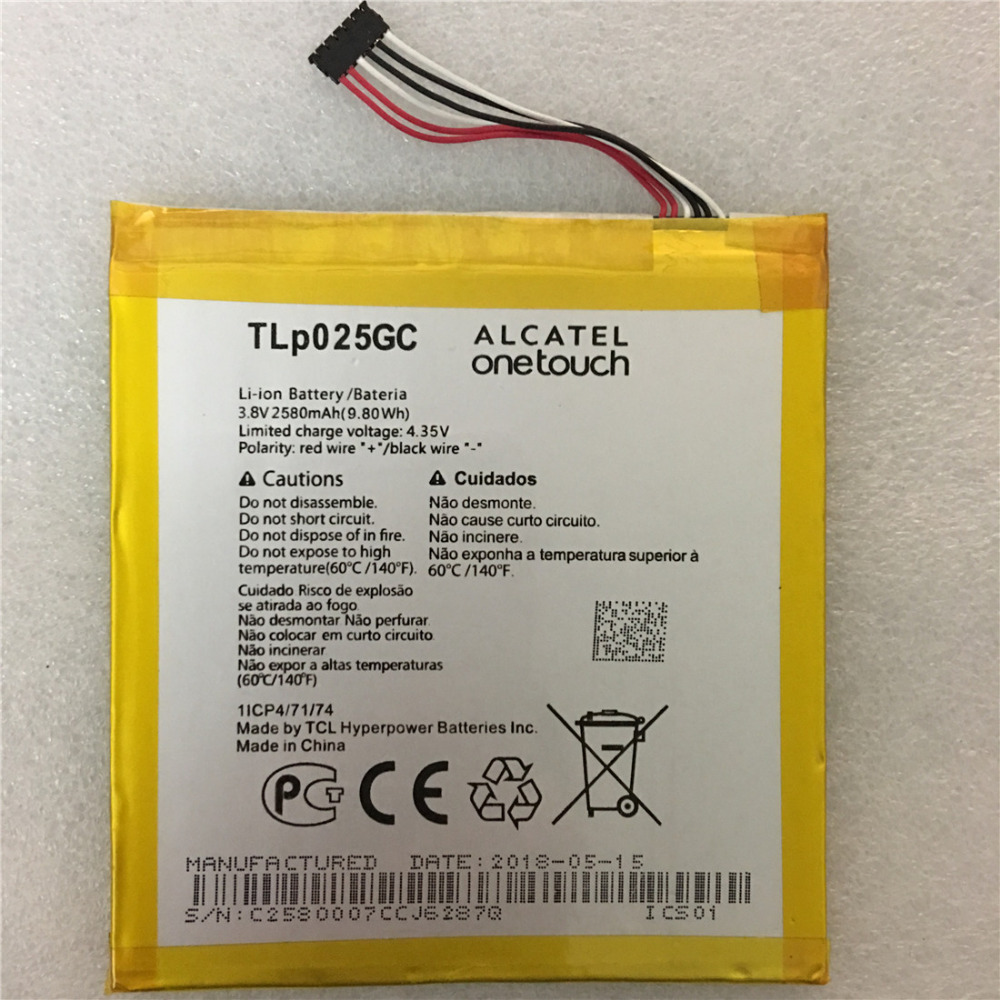 Original TLP025GC 2580mAh Battery for Alcatel One Touch Pixi 4 (7) 3G 9003X 9003A Cell phone image
