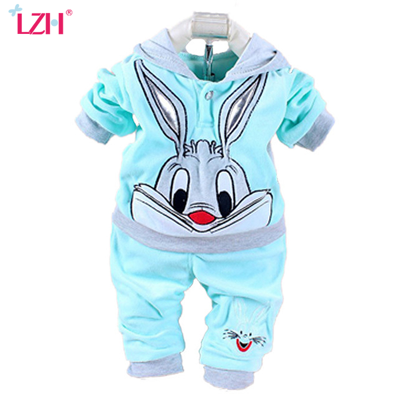 LZH Newborn Clothes 2017 Autumn Winter Baby Girls Clothes Set Rabbit Velvet Hoodie+Pants 2pcs Girls Outfits Suit Infant Clothing keaiyouhuo newborn baby spring autumn girls clothes set rabbit cotton coat pants 2pcs set kid 0 2y girls pure clothes clothing