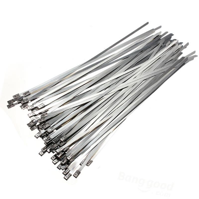 Mayitr 100pcs/lot 300x4.6mm Cable Ties Zip Wraps Exhaust Stainless Steel Metal Heat Straps Induction Pipe цена