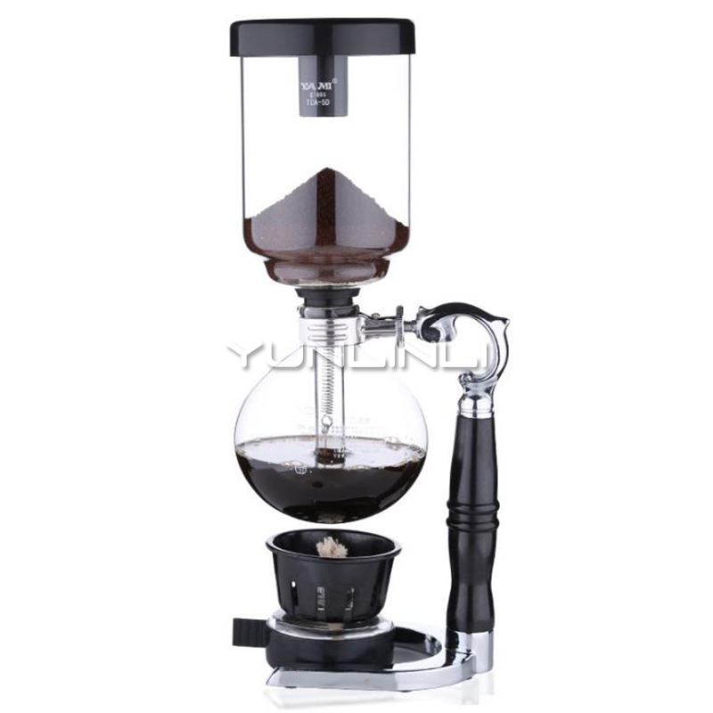 Siphon Coffee Pot Household Vacuum Coffee Maker Glass Syphon Coffee Brewer 3 Cups YM1203