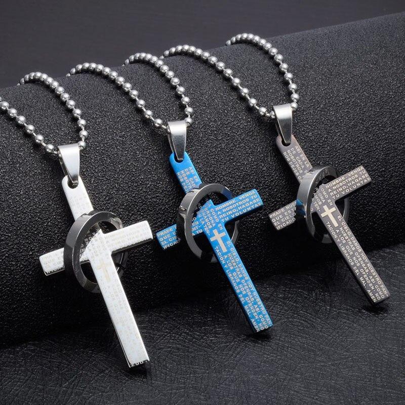Punk 1PC Golden Silvery Titanium Steel Cross Letter Ring Pendant Neckalce For Men Male Fashion Jewelry Gift