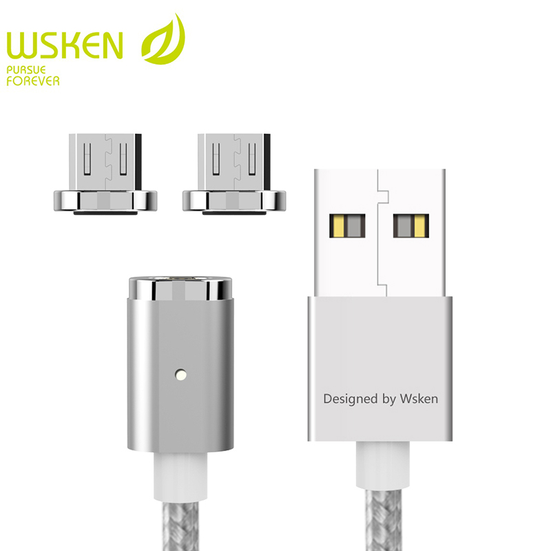 WSKEN Mini 2 Magnetic USB Cable Fast Charging Magnetic <font><b>Charger</b></font> Mobile <font><b>Phone</b></font> Micro USB Cables For Samsung S7 Micro USB Devices