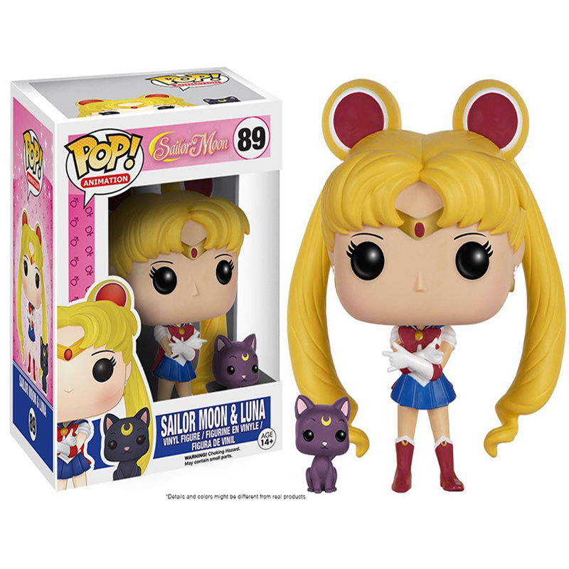 Funko pop Sailor Moon & Luna pvc action Figure Collectible Model Toy kids gift