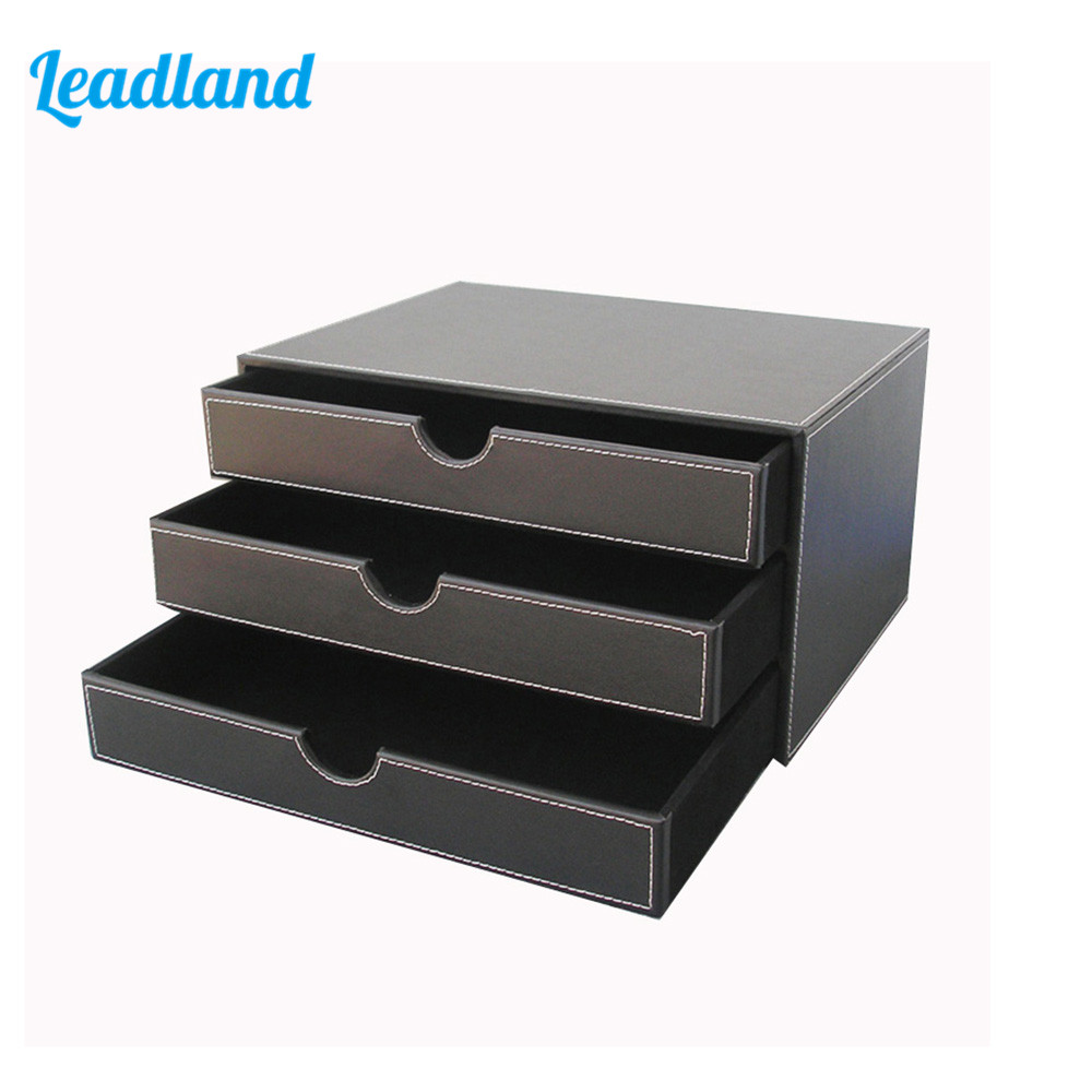 3-Drawer 3-Layer Leather Desk Filing Cabinet File/Document Holder Organizer Storage Box Black A114