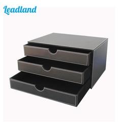 Archivador de escritorio de cuero de 3 capas con 3 cajones, archivador, organizador de documentos, caja de almacenamiento negra A114