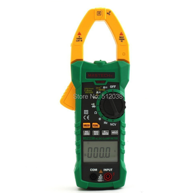 MS2115B True RMS Digital Clamp Meter Multimeter DC AC Voltage Current Ohm Capacitance Frequency Tester with USB digital clamp meter appa a3dr with true rms reading 1pc 100