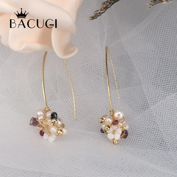 2019 New Natural Fresh Water Baroque Pearl With Jade Crystal Handmade Earrings For Women Gift Drop Earring Fine Jewellery image