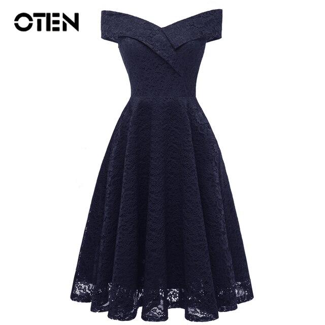 199176e2b06f OTEN Party lace dress Women Summer Off Shoulder V Neck Elegant Ladies A Line  stylish Tea Party midi dress trending products 2018