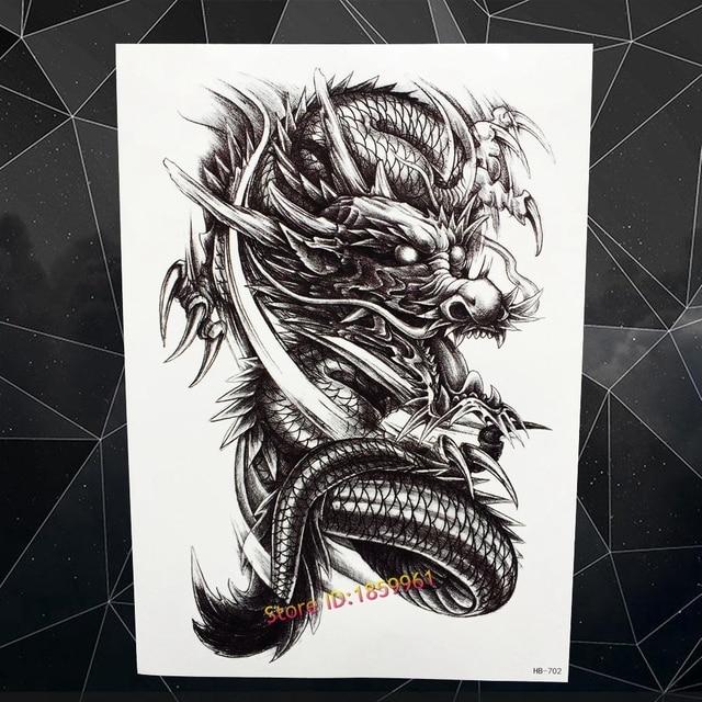 Large Black Dragon Flash Tattoo Body Art Sleeve Arm Temporary Tattoo Stickers 21x15cm Waterproof Tatoo Henna Car Styling Selfie