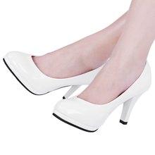 На Продажу Классический Черный Ню Мелкая Рот Круглый Носок Кожа обувь Толстые Туфли На Высоком Каблуке Краткое Элегантный Дамы Весна насос