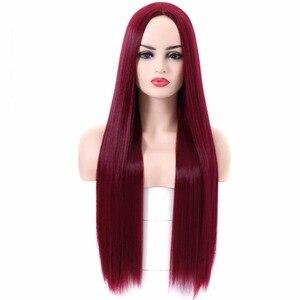 BESTUNG винно-красный парик прямые длинные парики средний пробор синтетические Цветные Хэллоуин косплей для женщин