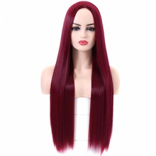 BESTUNG Wine Red Wig Straight Long Wigs Middle Part