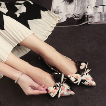 New Autumn Shallow Mouth Pointed Toe Shoes Female Flat Moccasins Flat Heel Bow Ship Ladle Shoes Women'S Shoes