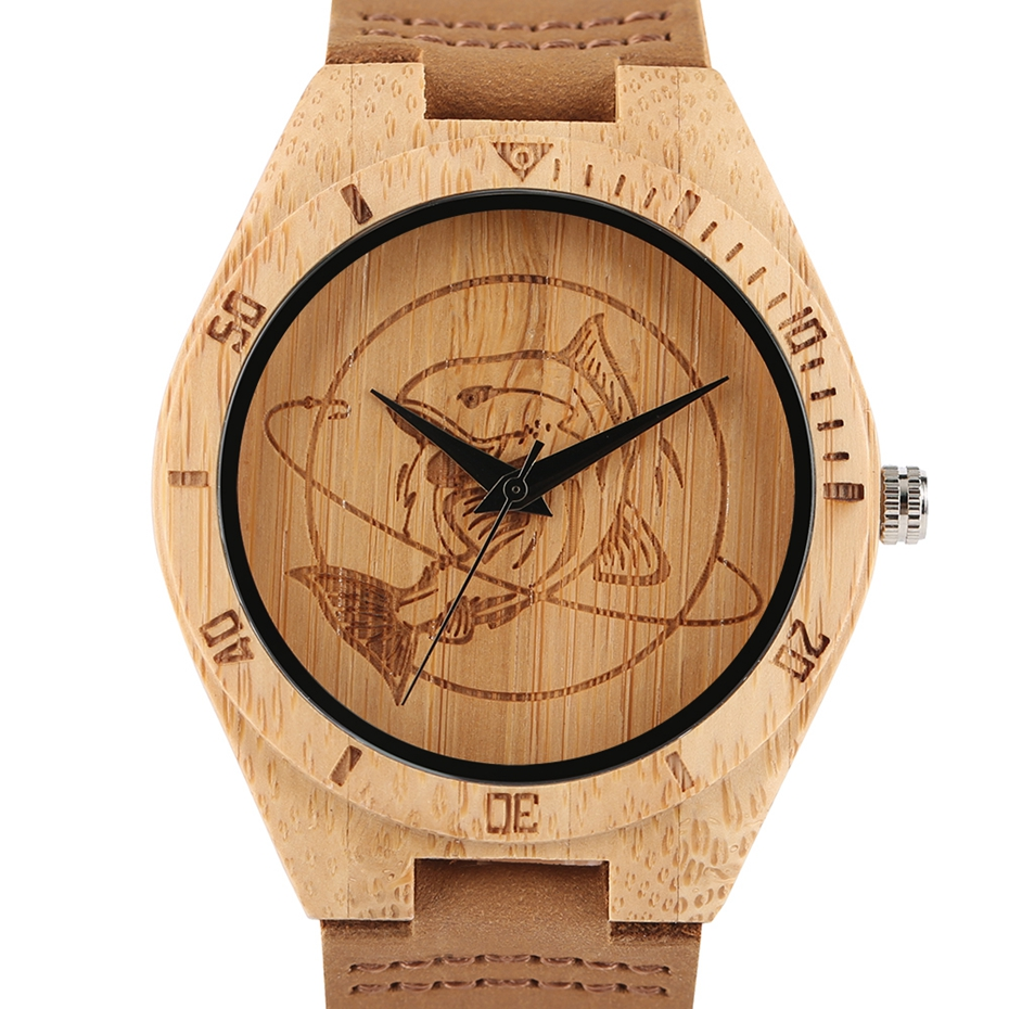 Natural Mens Wooden Wrist Watch Casual Dress Style Engraved Fish Handicraft Dial Light Bamboo Wood Relogio Gifts Genuine Leather 2017 (4)
