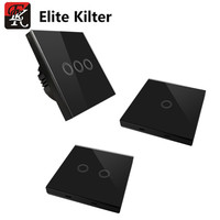 EU/UK black Touch Switch Elite Kilter 3 Gang 3 Way With 3 Gang Touch Remote Controller AC 170V~240V Standard