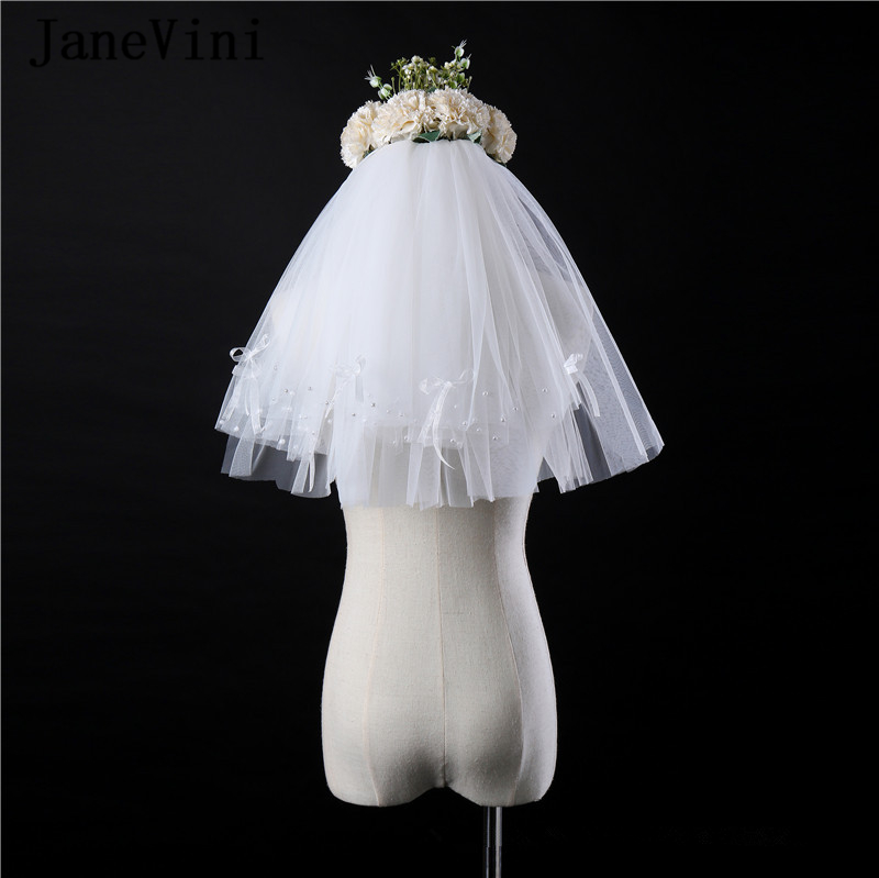 JaneVini Elegant White Flower Girls Veils Two Layers Pearls First Communion Veil Tulle Kids Veil with Comb Voile Court Marriage