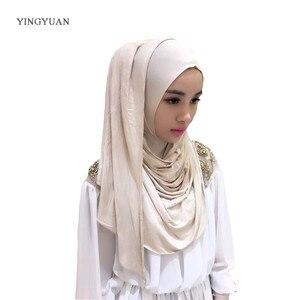 Image 4 - 0TJ57 hiyab liso de 180x70cm para mujer, bufandas musulmanas, de alta calidad Hijab, hermoso gorro chal de moda (with1 Undescarf