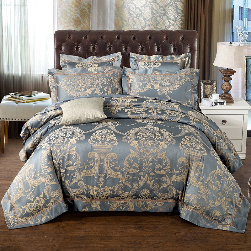 Luxury Bule Jacquard Satin Silk Bedding Set King Queen Size 2/4pcs Doona Duvet Cover Bedclothes Bed Linen Cotton Home Textile
