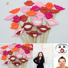 22Pcs Lips Photo Booth Props Decoration Photobooth Wedding Birthday Event Party Supplies Photocall