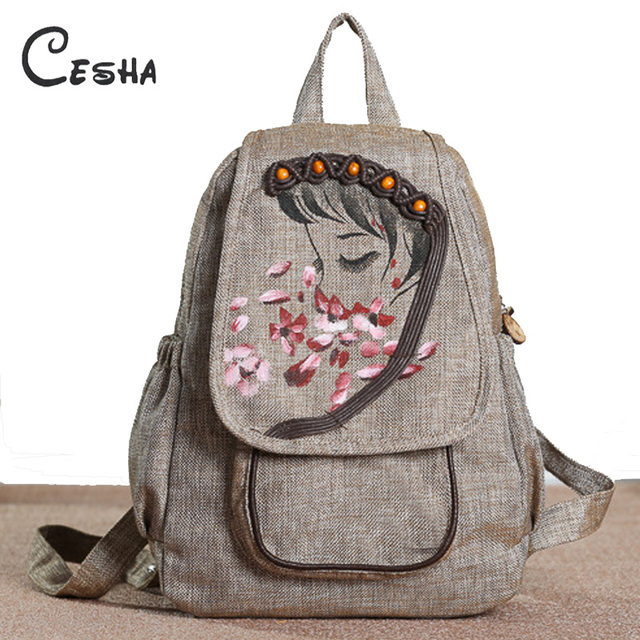 b223c023fb Fashion Chinese Style Knitting Lovely Girl Pattern Women Backpack High  Quality Linen Female National Embroidery Backpacks