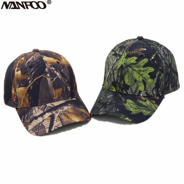 462efe7159eb1 New Unisex Outdoor Camo Hunting Peaked Caps Fishing Bionic Camo Baseball  Hats Army Tactical Camouflage Casquette Sunshade Caps